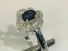 18K White Gold.Ceylon Sapphire Diamond Cocktail Ring.