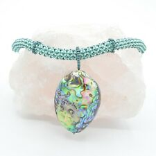 """Necklace with Abalone Shell Pendant 17.5"""" Green, Mint & White Miyuki Seed Bead"""