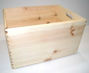 High Quality Set of 2 Boxes Stacking Storage Crates Hamper Wooden Home Craft NEW
