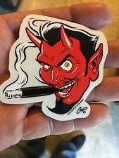 """2.5""""×2.5""""  Mini Wild Devil Head Smoking Decal Artist pop 2000 COOP Left Vinyl"""
