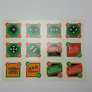 Showdown Yahtzee Cards Full Set Replacement Game Parts 4202 New Unpunched