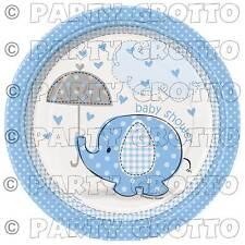 Blue Umbrellaphants 17cm Plates X 8 Baby Boy Shower Party Tableware Supplies
