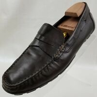 Geox Penny Loafers Moner Moc Driving Mens Brown Leather Slip On Shoes Size 11