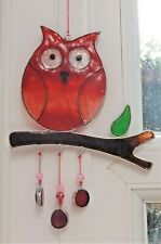 RED OWL SUN CATCHER 20 cm STAINED GLASS EFFECT with NUGGETS
