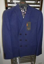 Ben Sherman Slim Fit Double Breasted Blue Suit 42S Jacket 34R Trosuers RRP £185