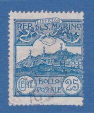 San Marino 1903 veduta 25c azzurro usato used retro segni matita pencil marks