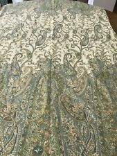 Pottery Barn Paisley 100% cotton Shower Curtain blue green