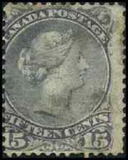 Canada #29 used VG 1868 Queen Victoria 15c grey violet Large Queen CV$15.00
