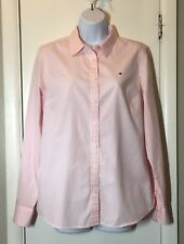 TOMMY HILFIGER Womens Long Sleeve Button Up Shirt Pink White Stripes Medium