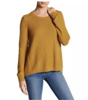 Madewell Women's Riverside Textured Dark Mustard Sweater Crew Neck Size Small