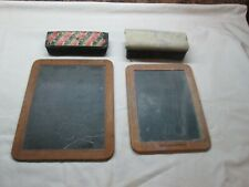 2 Primitive Antique Childs Slate Wooden Chalkboard + Erasers  ~ONE DOUBLE SIDED~