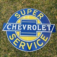 """VINTAGE CHEVROLET SUPER SERVICE CHEVY PORCELAIN METAL DEALERSHIP 20"""" BOWTIE SIGN"""