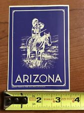 Arizona Native American Horse Blue Luggage Tag Lable Vintage