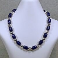 """Lapis Lazuli Sterling Silver Bead Necklace 10 mm 16"""" 18"""" Lengths Hook Clasp"""
