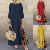 Women's Casual Patchwork Long Sleeves O-Neck Button High Low Hem Plus Size Dress