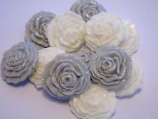 Glittered Wedding Cake Cupcake Topper Decorations - 6 Silver 6 White Sugar Roses