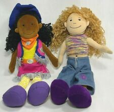 """LOT OF 2 - VINTAGE GROOVY GIRLS 13"""" PLUSH -  1 AFRICAN AMERICAN & 1 CAUCASIAN"""