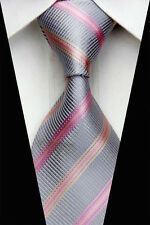 AS0469 Gray Pink Striped Classic Elegant Woven 100%Silk Necktie Man's Tie