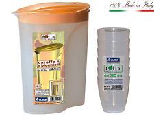 Caraffa acqua 6 Bicchieri Bama Brocca plastica Contenitore caraffe Tupperware