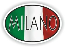 Milano OVAL WITH ITALIAN FLAG STICKER ITALY ITALIA AUTO MOTO TRUCK LAPTOP