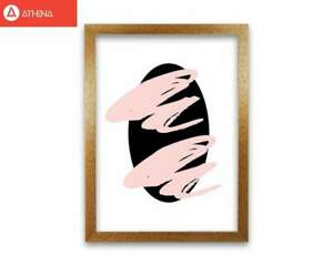 Abstract Black Oval With Pink Strokes Modern Art Print