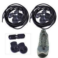 2 Paar Schwarz Elastische Sport Schnürsenkel Schuhbänder für Marathon Triathlon