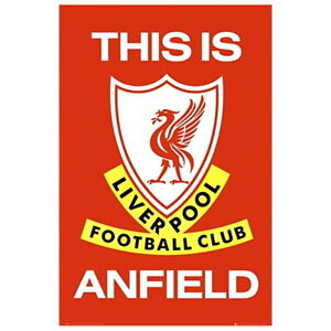 """Liverpool FC Team Crest Wall Poster 24"""" x 36"""" Officially License This Is Anfield"""