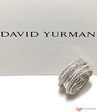 David Yurman Sterling Silver Crossover Wide Cable Pavé Diamond Ring Size 8
