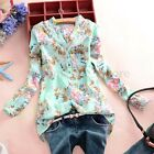 ZANZEA S-5XL Womens V Neck Floral Casual Long/Short Sleeve Chiffon Tops Blouse