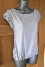 RIVER ISLAND Grey Marl BOAT Slash Neck Button Cap Sleeve Tee Top UK size 6