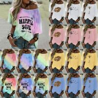 Women Tie-dye Floral Printed T-Shirt Short Sleeve Tops Casual Loose Blouse Tees