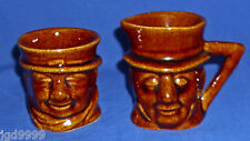 Vintage Unmarked Brown Toby Sugar Bowl and Creamer Set Used Beswick? Jugs?