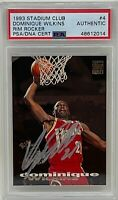DOMINIQUE WILKINS Signed 1993-94 Topps TSC Rim Rockers HAWKS CARD #4 PSA/DNA