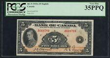 "CANADA #BC-5 $5 1935A SERIES ""ENGLISH"" PCGS VF 35 PPQ HW3284"