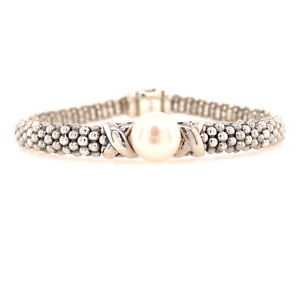 Silver Lagos Luna Caviar Bracelet with Cultured Fresh Water Pearl