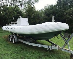 24' Willard Custom Rigid Inflatable Boat Seaforce 730 Cummins 6BT 210HP Diesel
