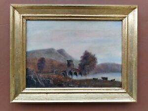 ANTIQUE MEDIEVAL BRIDGE W/COWS 19TH CENT OIL PAINTING ON CANVAS FRAMED