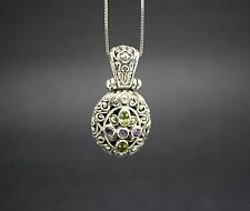.925 STERLING SILVER PENDENT with AMETHYST & PERIDOT GEMSTONES + CHAIN included