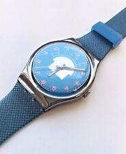 "New in Box SWATCH ""Blue Tune"" GX119 Radio Tuner Swiss Watch 1990"