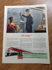 1947 GM Electro-Motive Trains Locomotive Ad  On Time on the Train Arrival Board