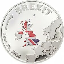 BREXIT COIN - Cook Islands $1 SILVER PROOF marking the 23 June 2016 - UK seller