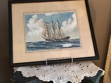 Watercolour Three Masted Ship Signed Sutherland 1936