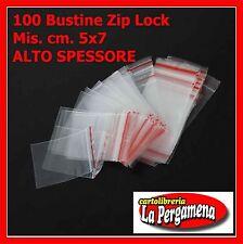 100 Buste Bustine Plastica Confezioni Chiusura ZIP LOCK 5X7 alto spessore