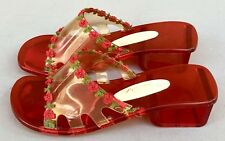 0fe38c65440b3c Vintage 1960s Onex Red Lucite Kitschy Open Toe Wedge Pumps Made In Japan Sz  8.5