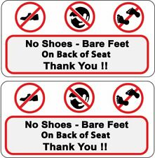 1 Pair No Shoes Bare Feet On Back Of Seat Thank You Taxi Bus UBER Decal Sticker