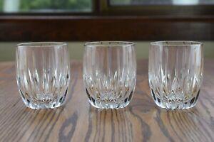 "3 Mikasa Crystal Park Lane 3 7/8"" Double Old Fashioned Whiskey Tumbler Glasses"