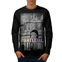 Wellcoda Portugal City Mens Long Sleeve T-shirt, Landmark Graphic Design