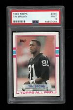1989 Topps FB Card #265 Tim Brown Los Angeles Raiders TOPPS ALL PRO PSA MINT 9!