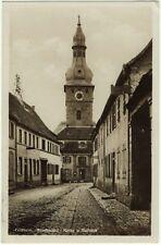 alte Foto Ak 1931 Göllheim, Straßenbild, Kirche und Rathaus