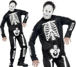 Mens Halloween Skeleton Fancy Dress Suit with EVA Print & Mask by Smiffys